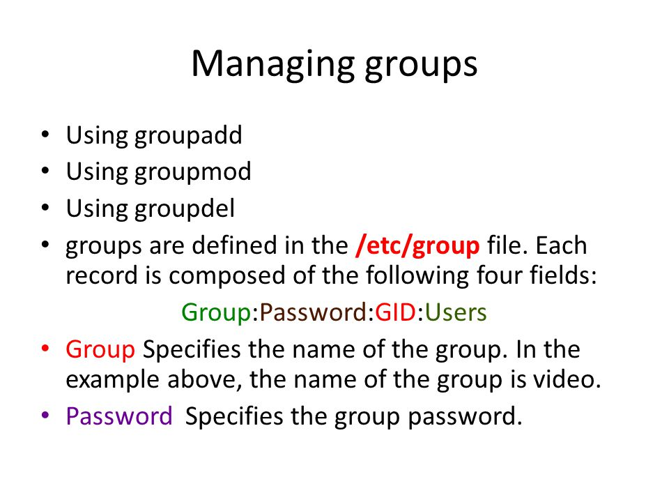Group:Password:GID:Users
