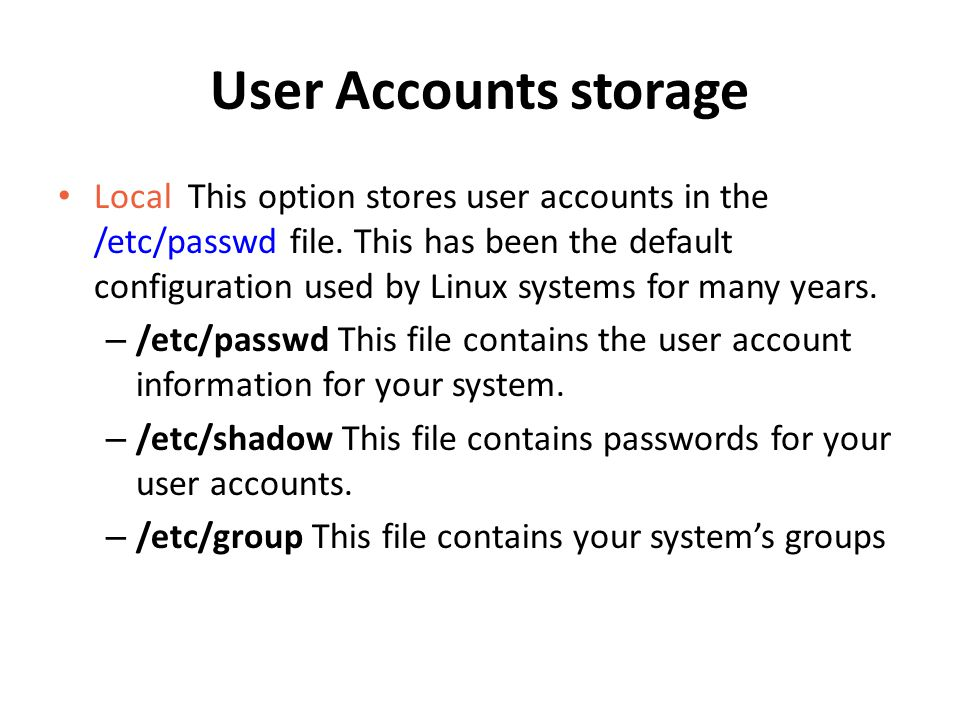 User Accounts storage