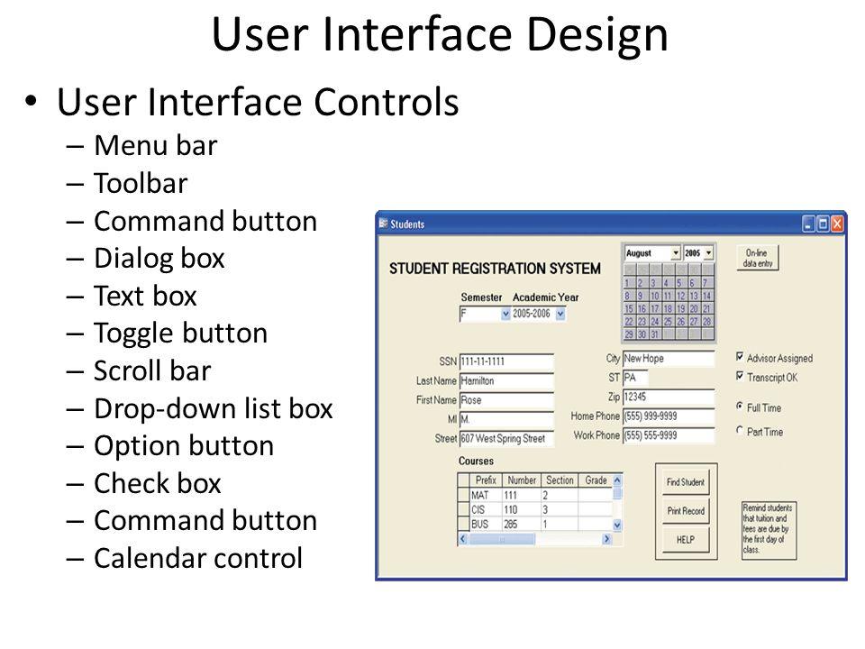 User Interface Design User Interface Controls Menu bar Toolbar