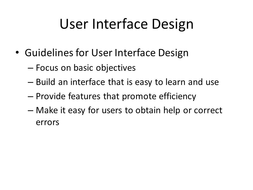 User Interface Design Guidelines for User Interface Design