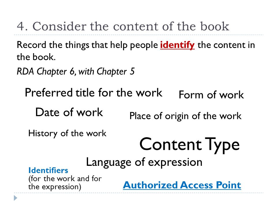 4. Consider the content of the book