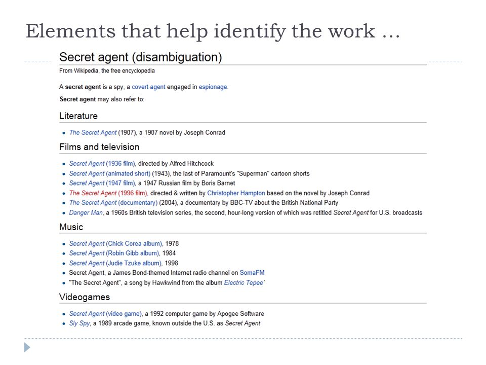 Elements that help identify the work …