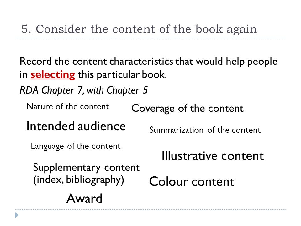 5. Consider the content of the book again