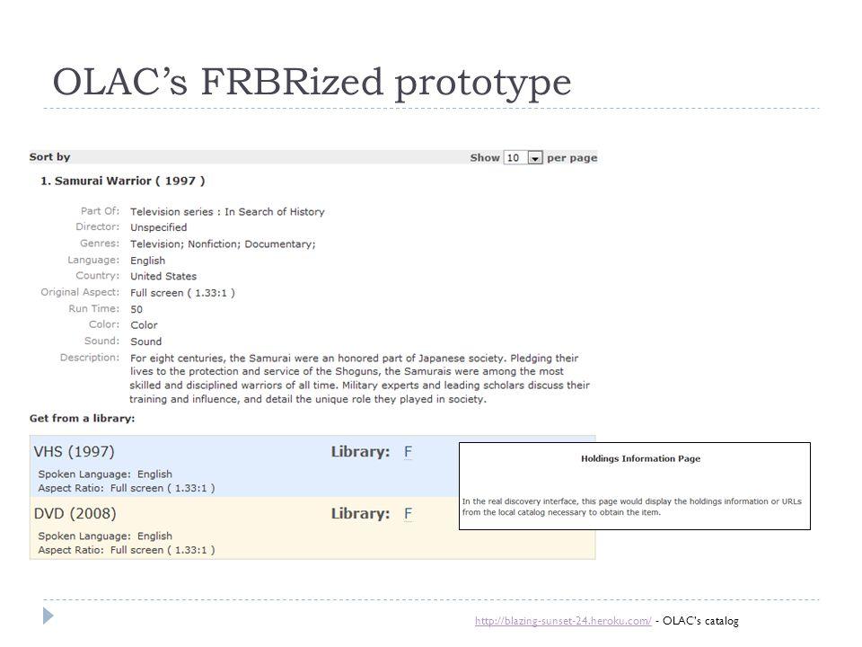 OLAC's FRBRized prototype