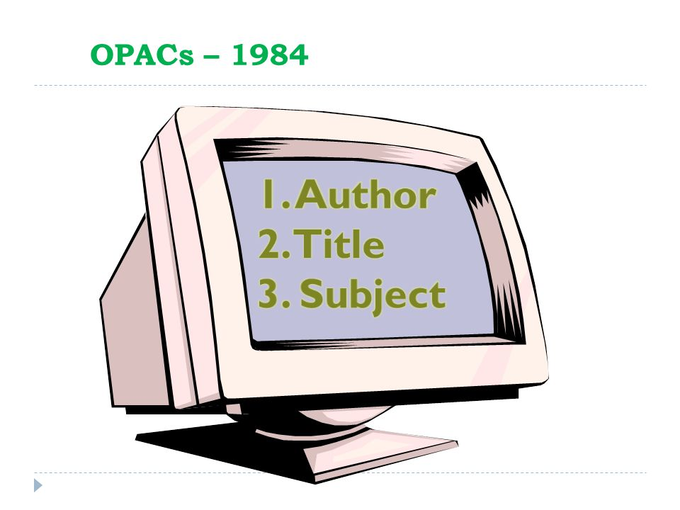 OPACs – 1984 1. Author 2. Title 3. Subject