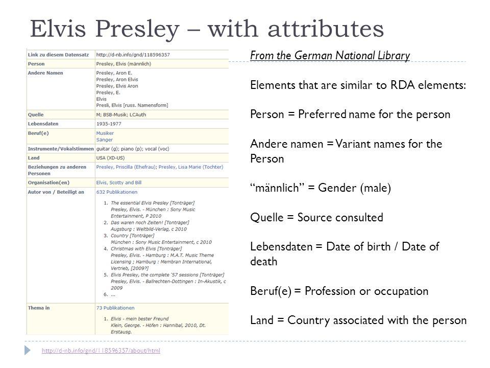 Elvis Presley – with attributes