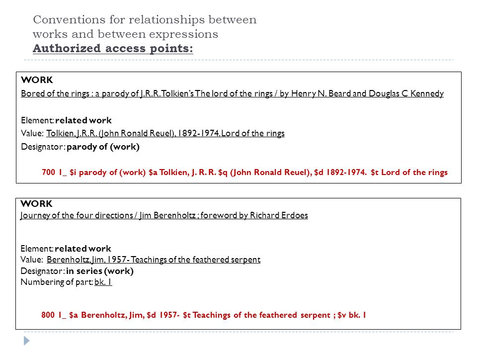 Conventions for relationships between works and between expressions Authorized access points: