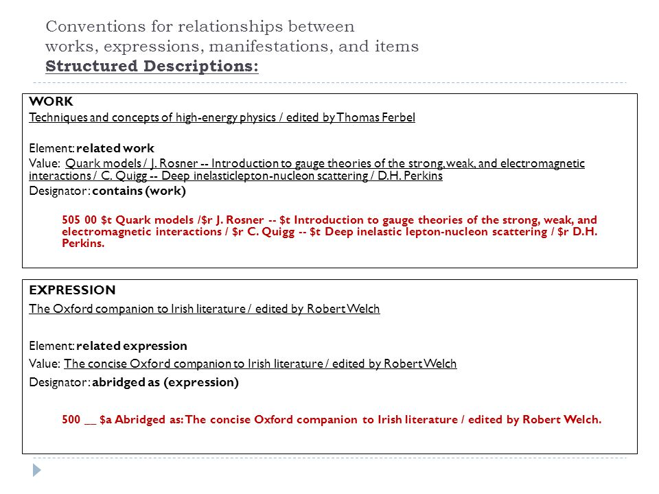 Conventions for relationships between works, expressions, manifestations, and items Structured Descriptions: