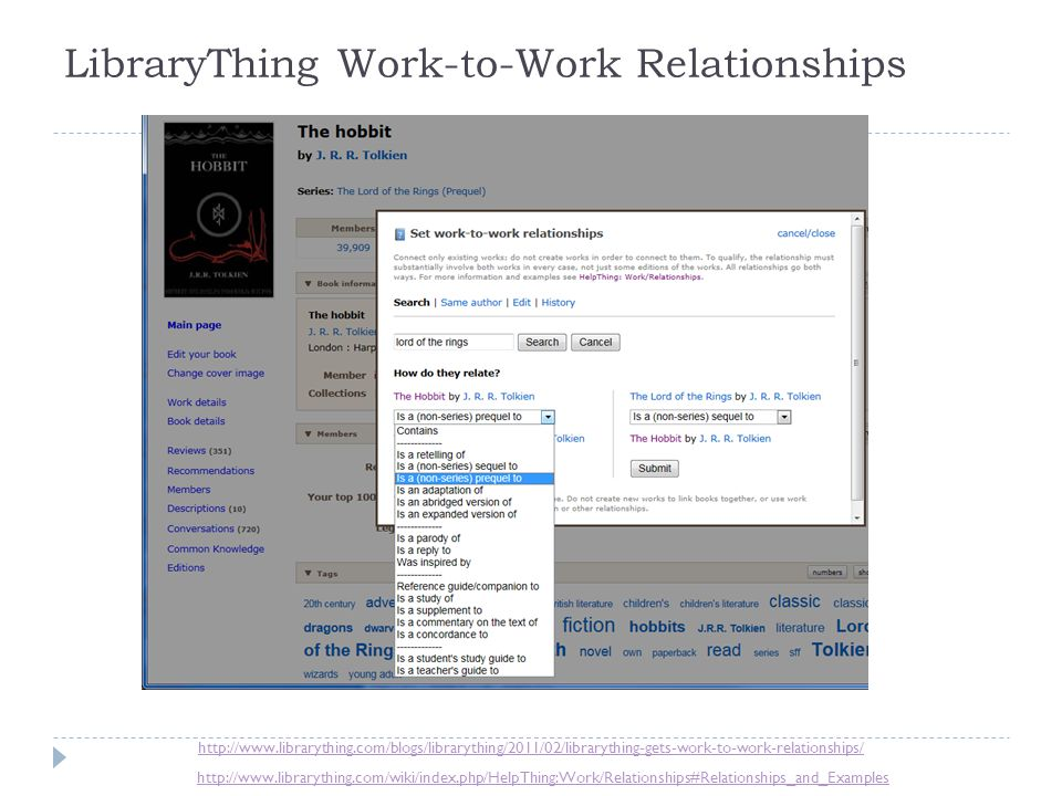 LibraryThing Work-to-Work Relationships