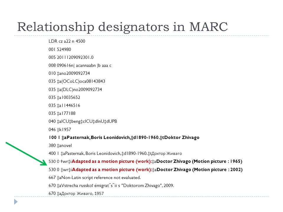 Relationship designators in MARC