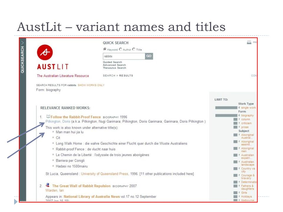 AustLit – variant names and titles