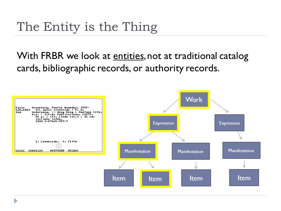 The Entity is the Thing With FRBR we look at entities, not at traditional catalog cards, bibliographic records, or authority records.