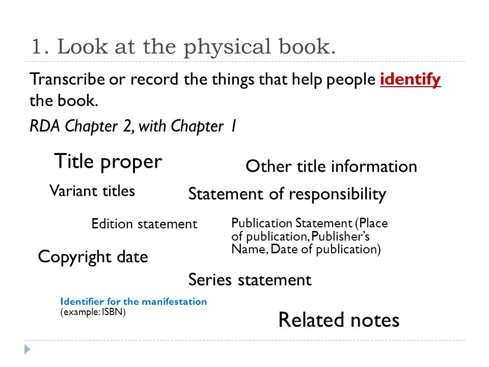 1. Look at the physical book.