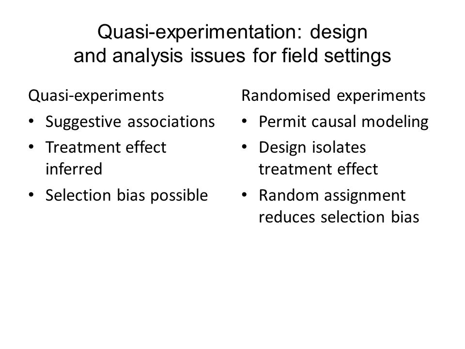 Quasi-experimentation: design and analysis issues for field settings