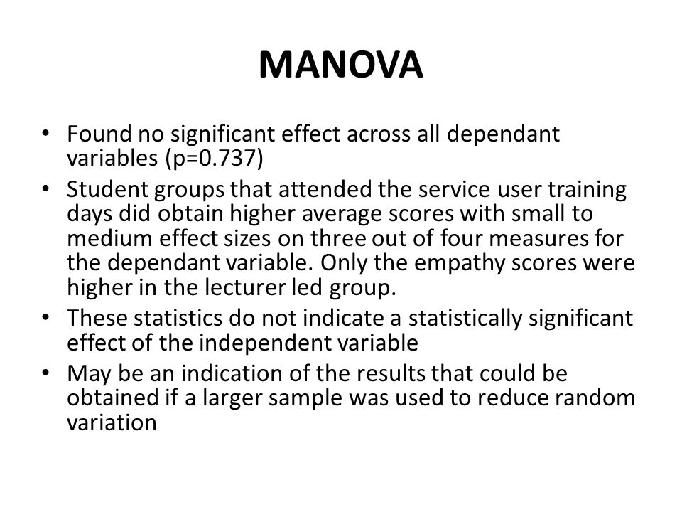 MANOVA Found no significant effect across all dependant variables (p=0.737)