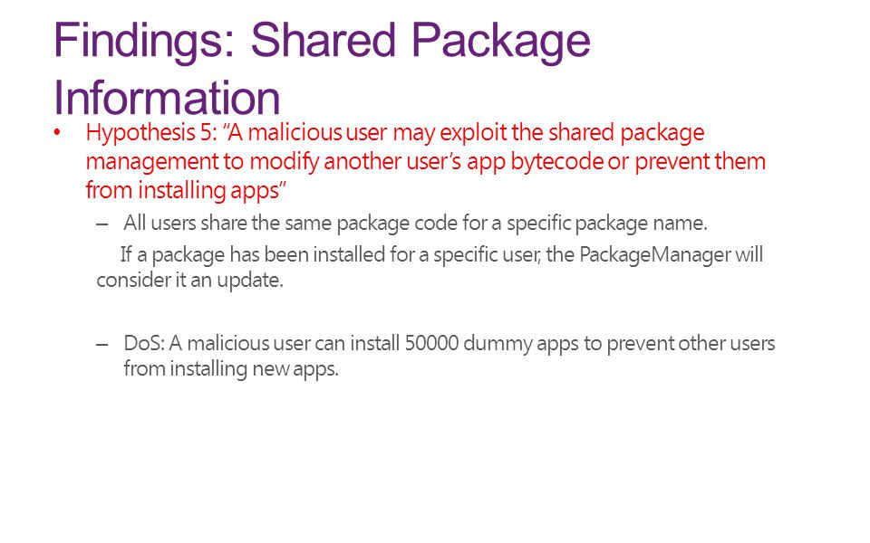 Findings: Shared Package Information