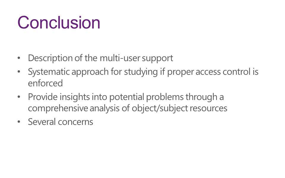 Conclusion Description of the multi-user support