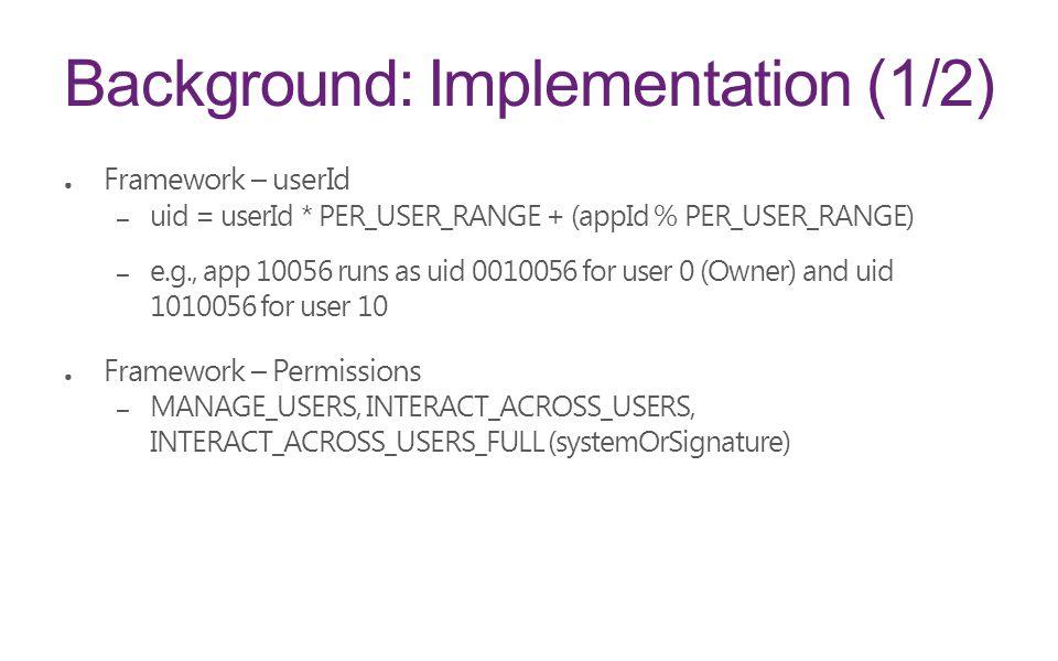 Background: Implementation (1/2)
