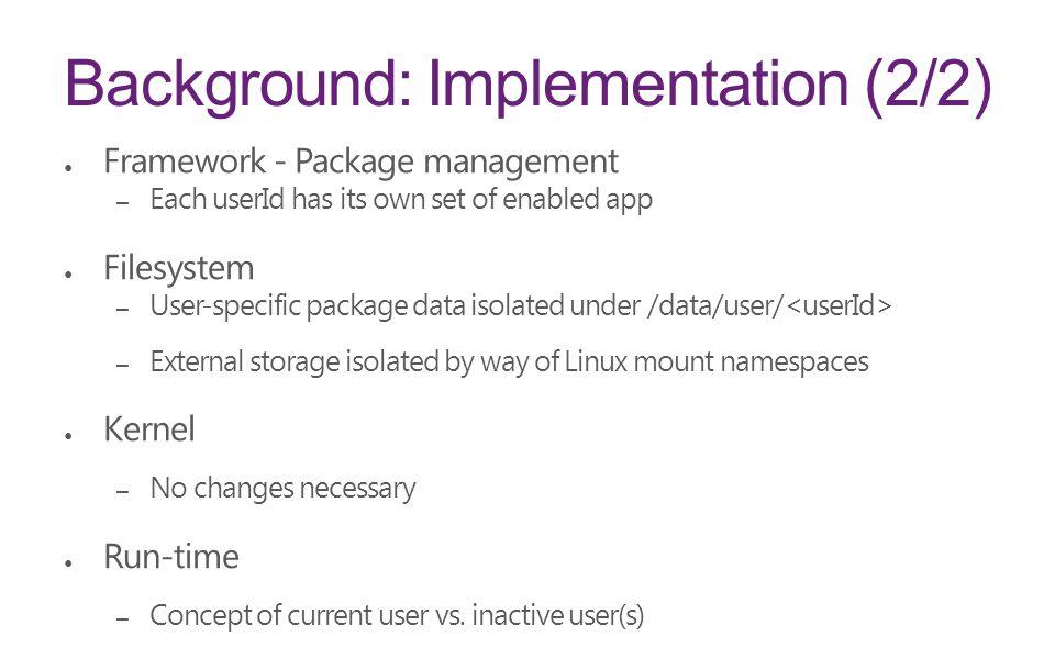 Background: Implementation (2/2)