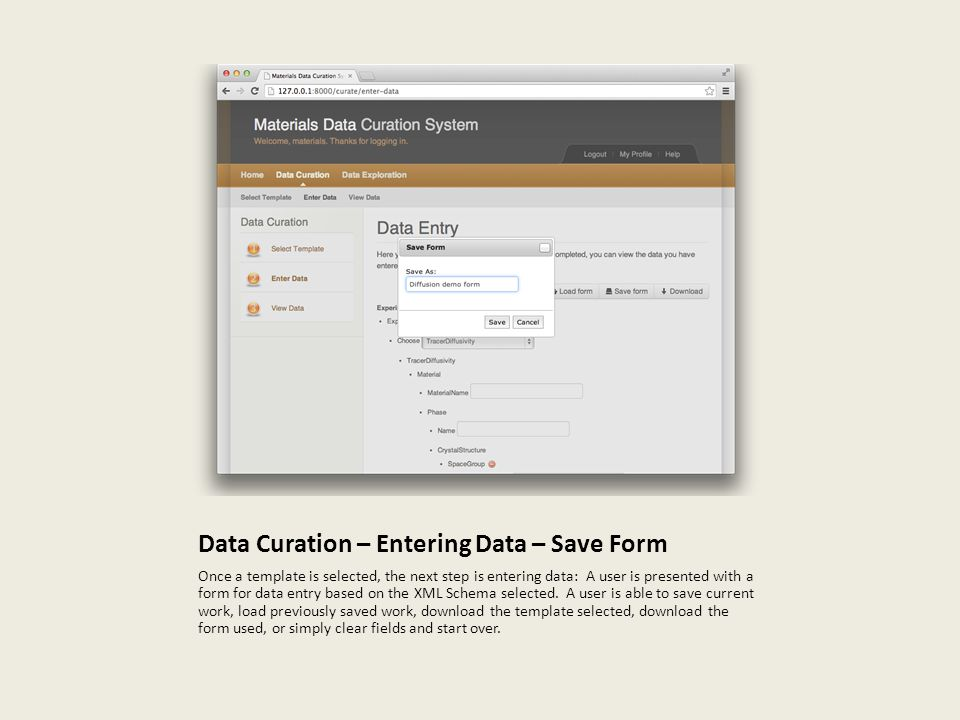 Data Curation – Entering Data – Save Form