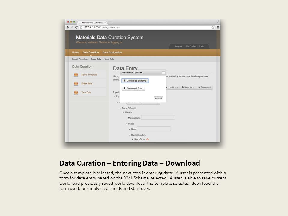 Data Curation – Entering Data – Download