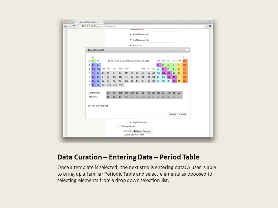 Data Curation – Entering Data – Period Table