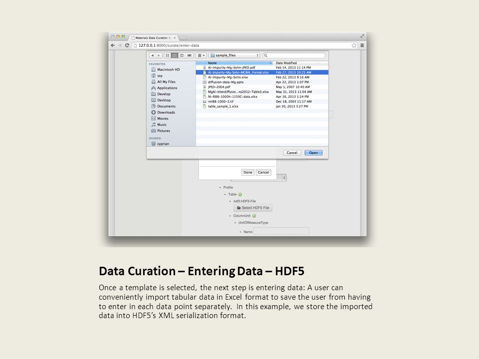 Data Curation – Entering Data – HDF5