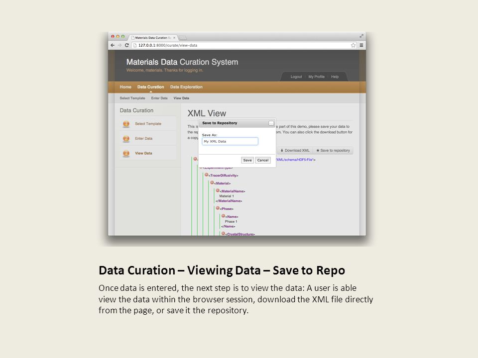 Data Curation – Viewing Data – Save to Repo