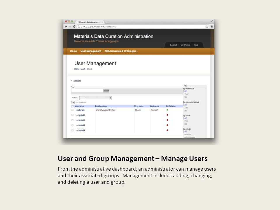 User and Group Management – Manage Users