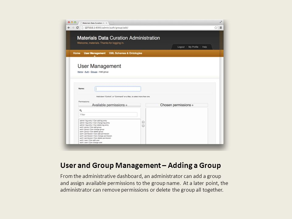 User and Group Management – Adding a Group