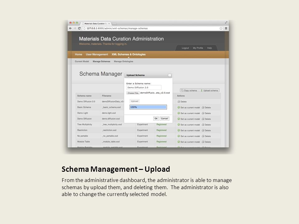 Schema Management – Upload