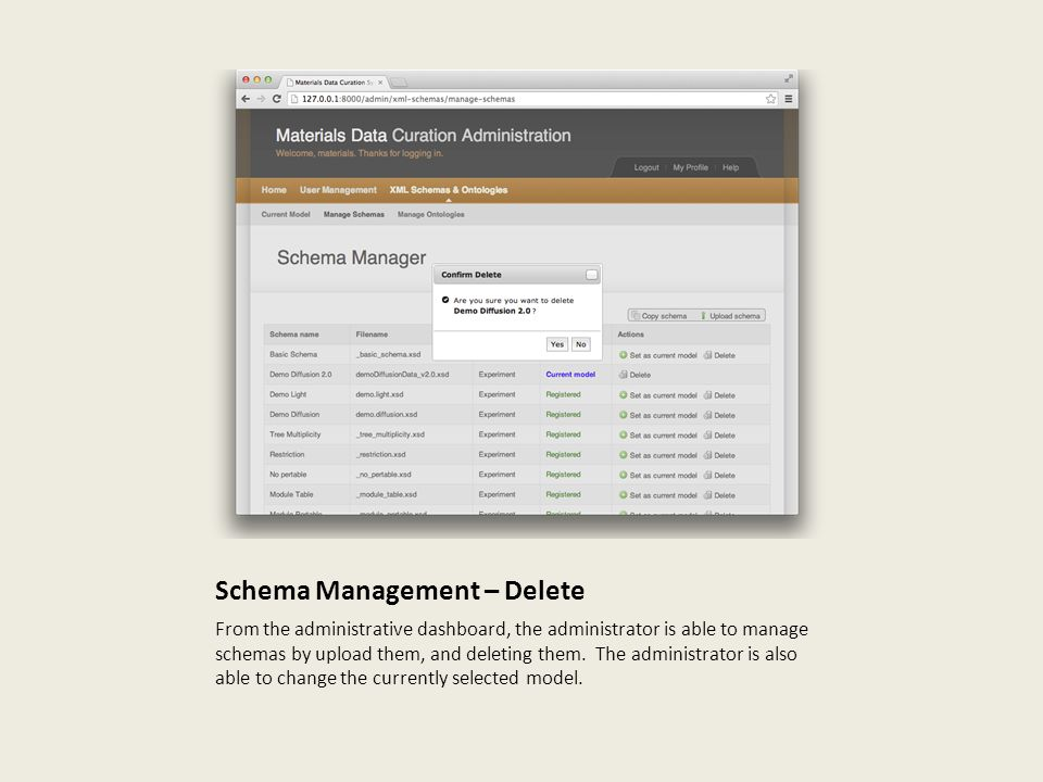 Schema Management – Delete