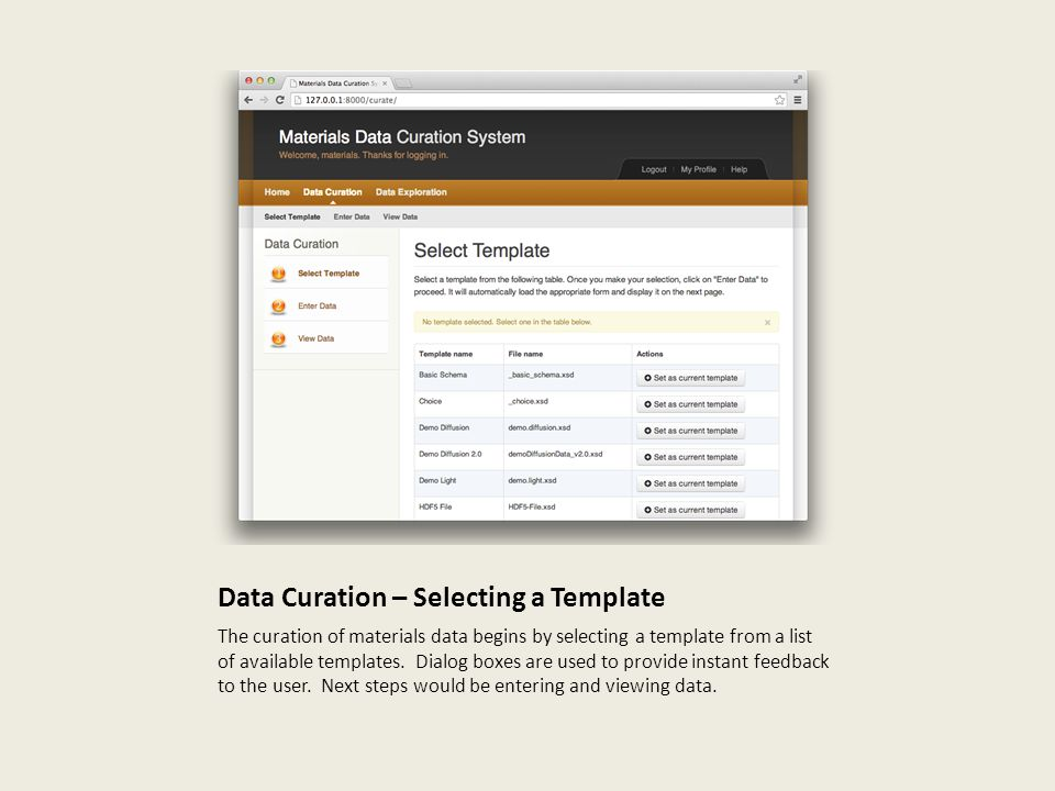 Data Curation – Selecting a Template
