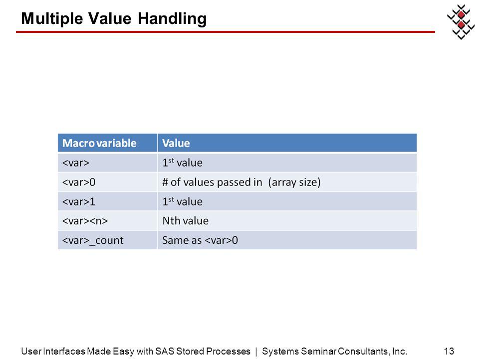 Multiple Value Handling