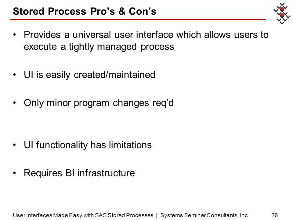 Stored Process Pro's & Con's