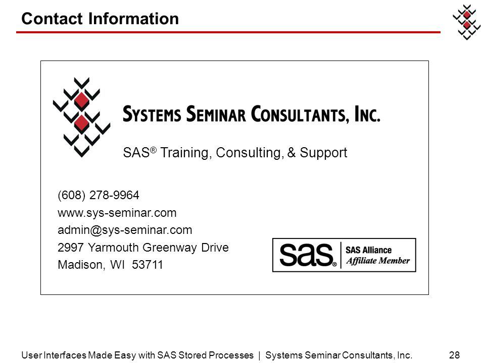 SAS® Training, Consulting, & Support
