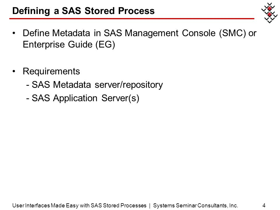 Defining a SAS Stored Process
