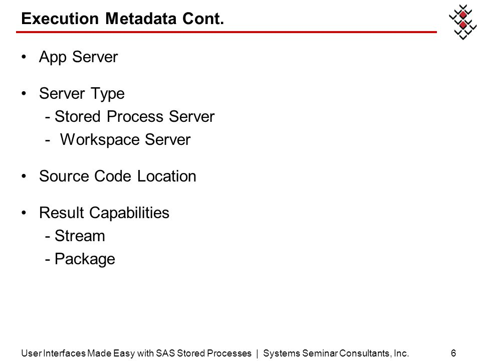Execution Metadata Cont.