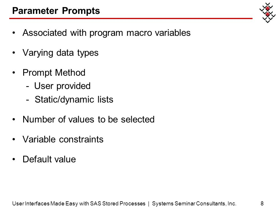 Parameter Prompts Associated with program macro variables