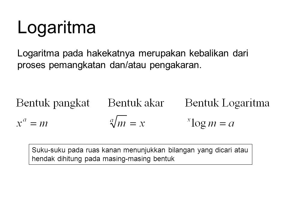 Logaritma Logaritma pada hakekatnya merupakan kebalikan dari proses pemangkatan dan/atau pengakaran.