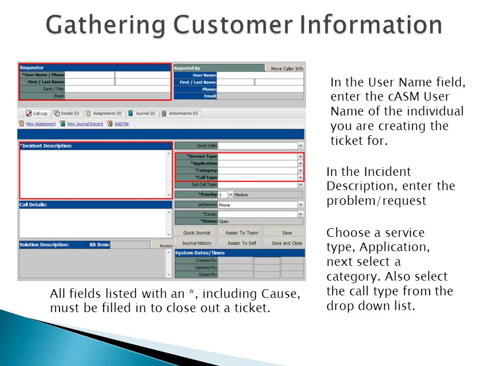 Gathering Customer Information