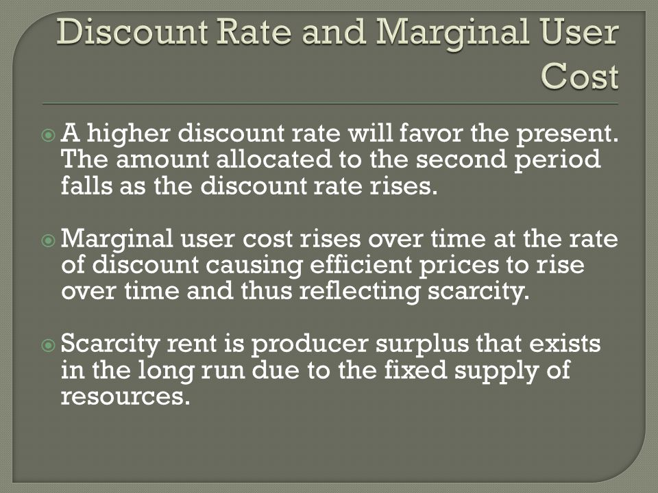 Discount Rate and Marginal User Cost