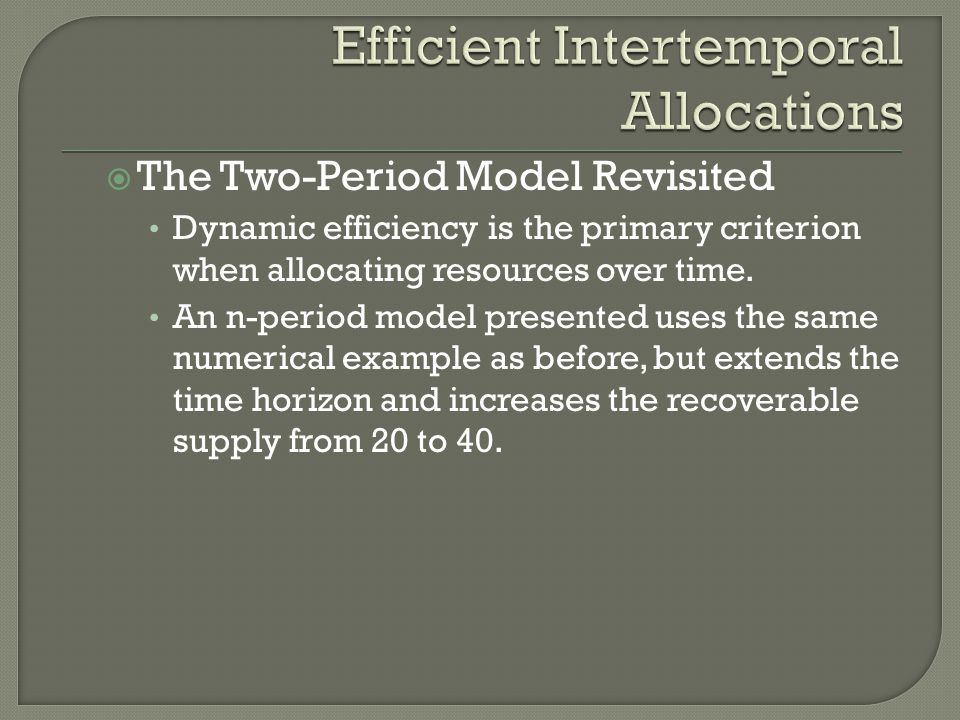 Efficient Intertemporal Allocations