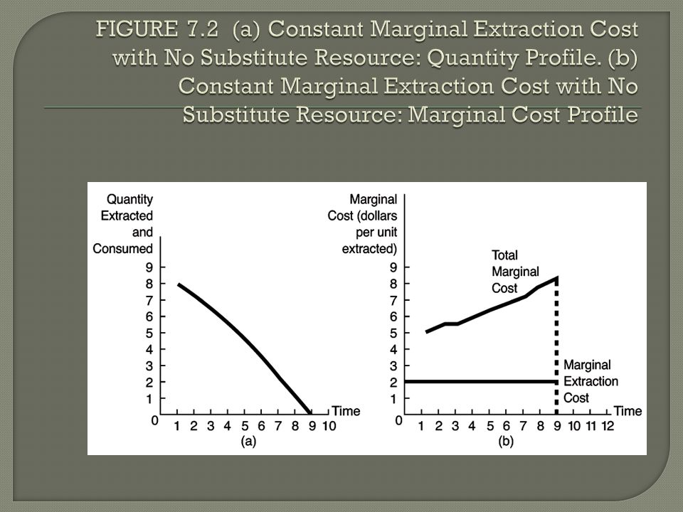FIGURE 7.2 (a) Constant Marginal Extraction Cost with No Substitute Resource: Quantity Profile.