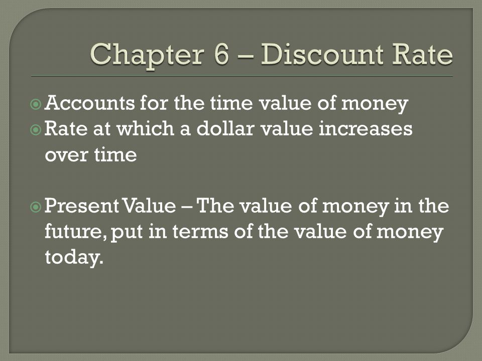 Chapter 6 – Discount Rate