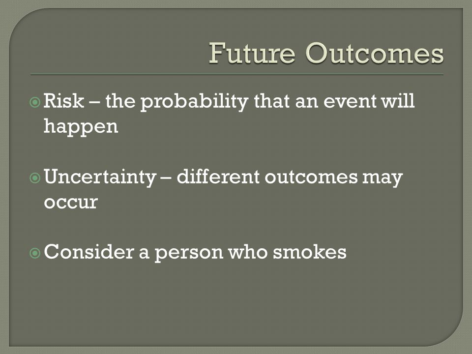 Future Outcomes Risk – the probability that an event will happen