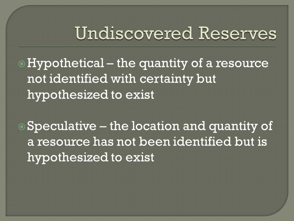 Undiscovered Reserves