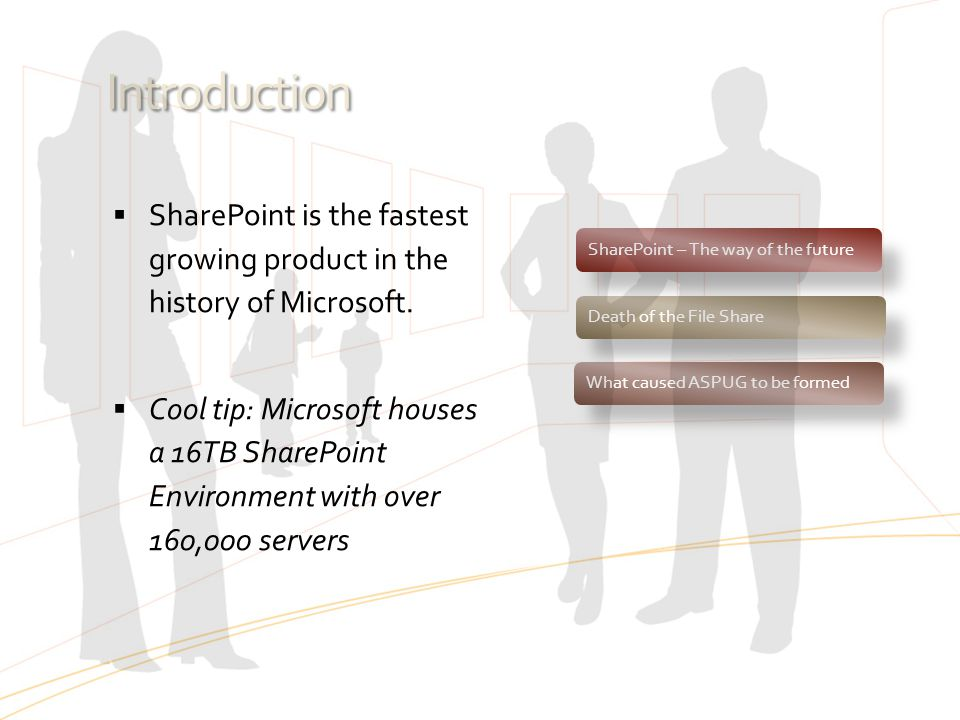 Introduction SharePoint is the fastest growing product in the history of Microsoft.