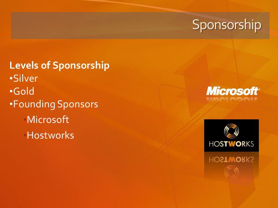 Sponsorship Levels of Sponsorship Silver Gold Founding Sponsors