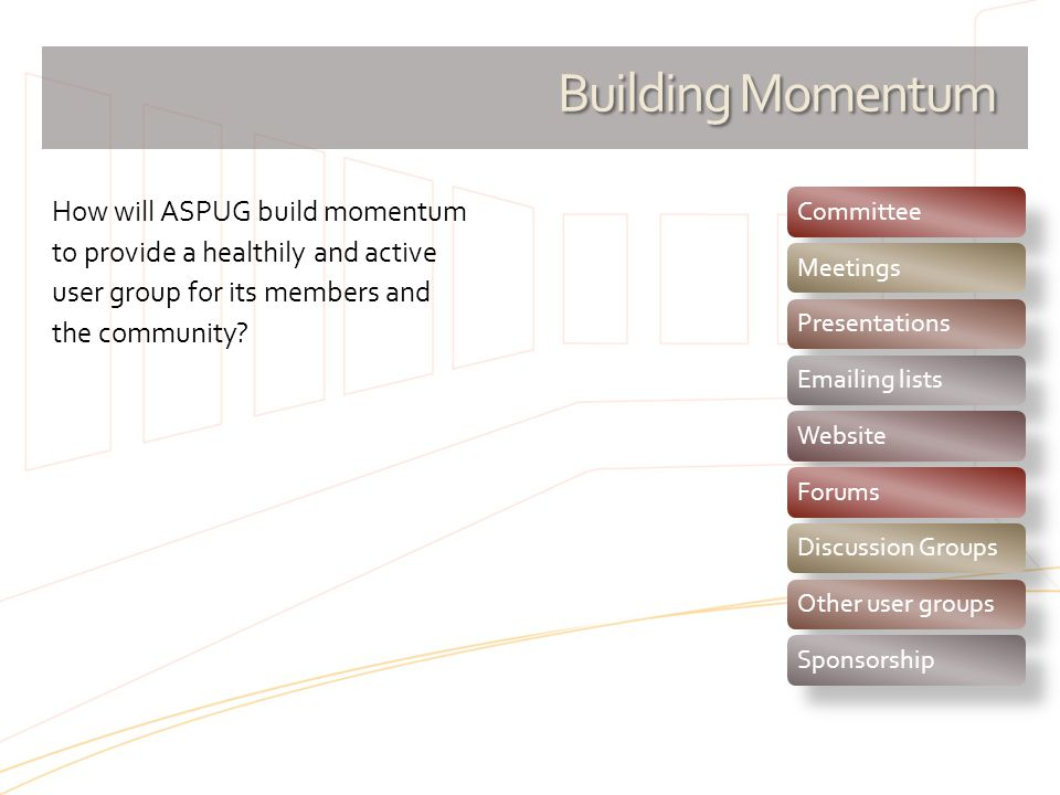 Building Momentum Committee. Meetings. Presentations. Emailing lists. Website. Forums. Discussion Groups.